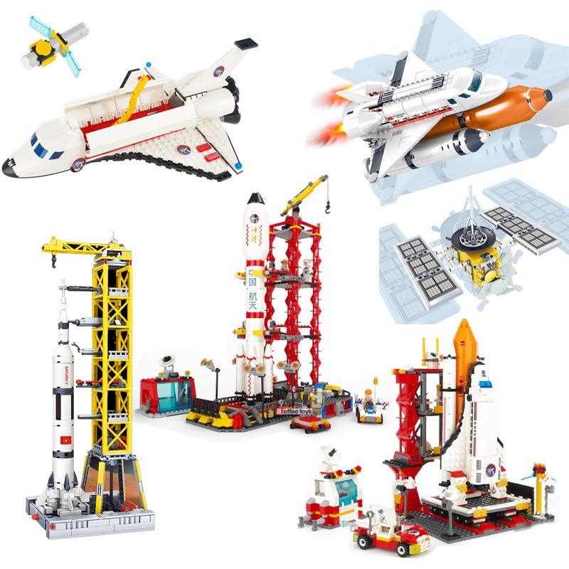 Space Station Saturn V Rocket Building Blocks City Shuttle Launch Center Atellite Astronaut Figure Bricks Set Children Toys Gift недорого