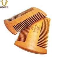 moq 100 pcs oem custom logo gold sandalwood beard mustache hair fine wide dual sided comb gold color