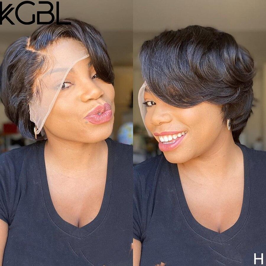 KGBL Pixie Bob pelucas cortas de encaje frontal pelucas de cabello humano