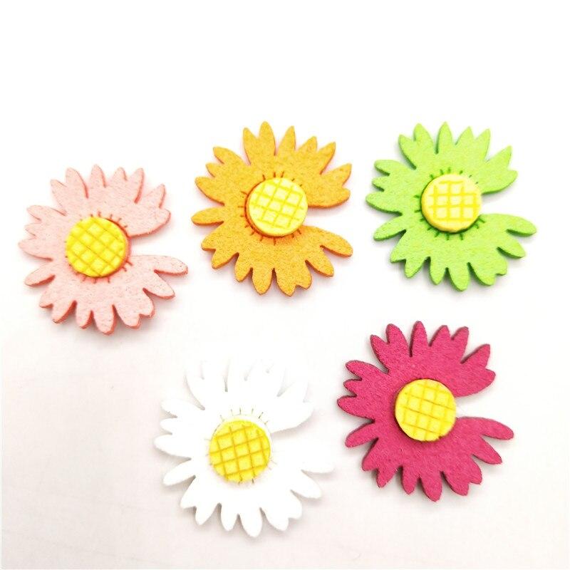 100 unids/lote 2,3 cm apliques de flores de fieltro para la cabeza DIY Clips de pelo decoración ropa de bebé accesorios parches