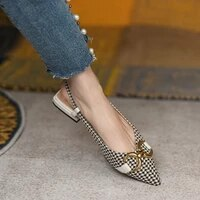 british style vintage houndstooth casual slingback sandals fashion summer pointed toe horsebit block low heels female shoes new