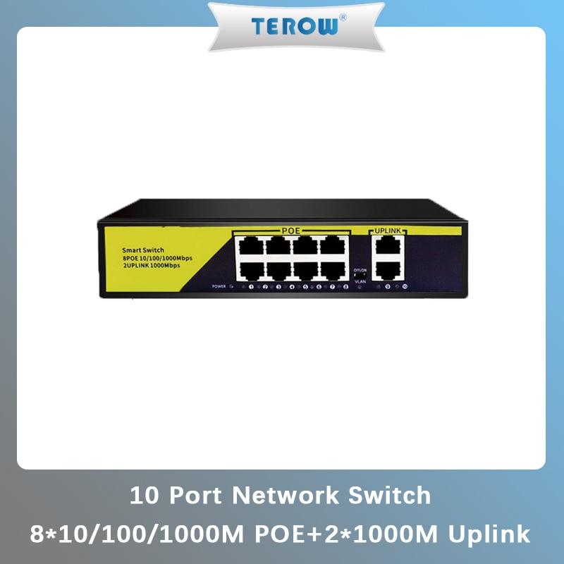 10Port POE Gigabit Switch 48V VLAN 10/100/1000Mbps 8 poe 1000M port+2uplink port Network Switch for CCTV IP Camera Wireless AP