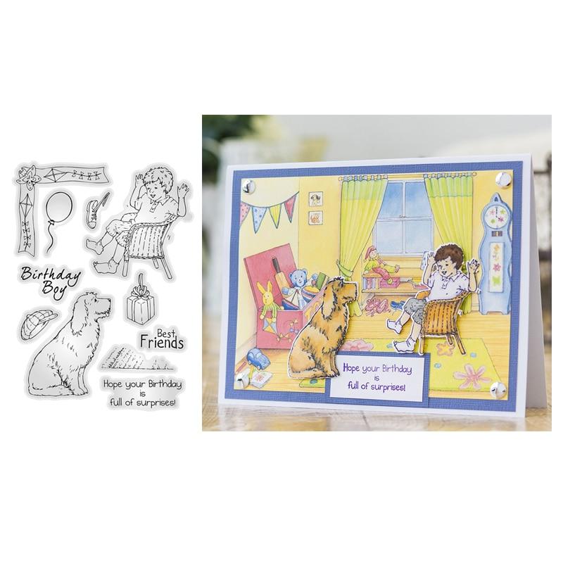 Sello de silicona transparente Render Birthday Boy/sello para álbum de recortes DIY/sello decorativo para hacer tarjetas de papel