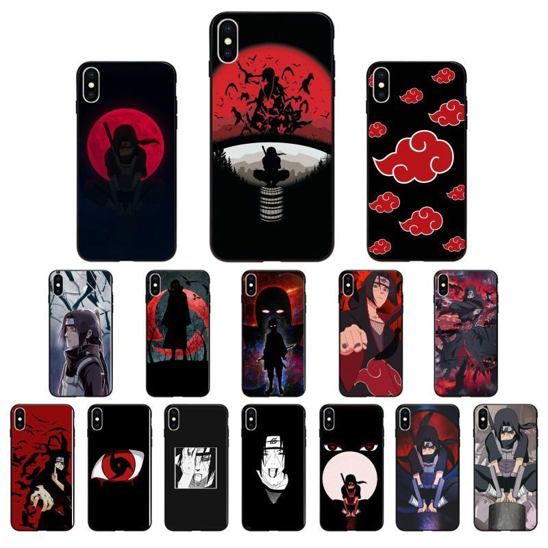 Anime naruto itachi tpu preto macio caso de telefone capa para o iphone x xs max 6s 7plus 8 mais 5 5S xr