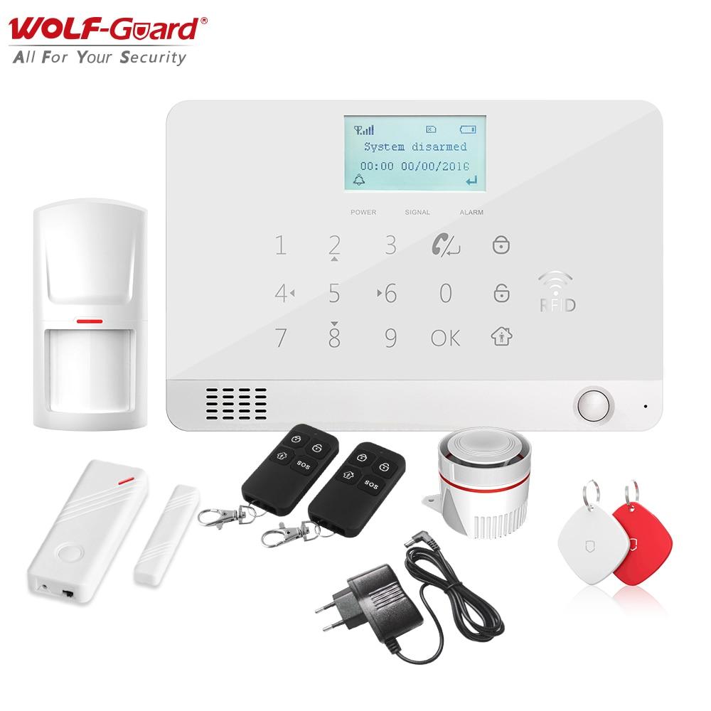 Wolf-Guard-نظام إنذار لاسلكي لأمن المنزل ، DIY ، LCD ، GSM ، SMS ، مضاد للسطو ، التحكم في التطبيق ، مستشعر الباب والنافذة ، كاشف الحركة ، PIR