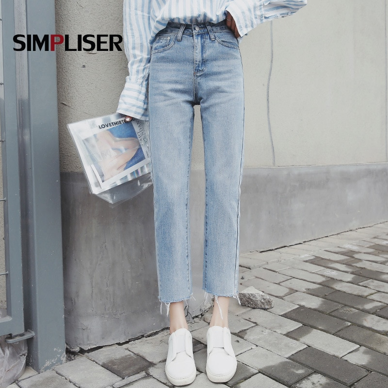 Ankle Length Women Straight Jeans Pants 2021 Female Stretch Tassel Jeans Trousers Mom Jeans Denim Blue Ladies Capris Jeans Mujer