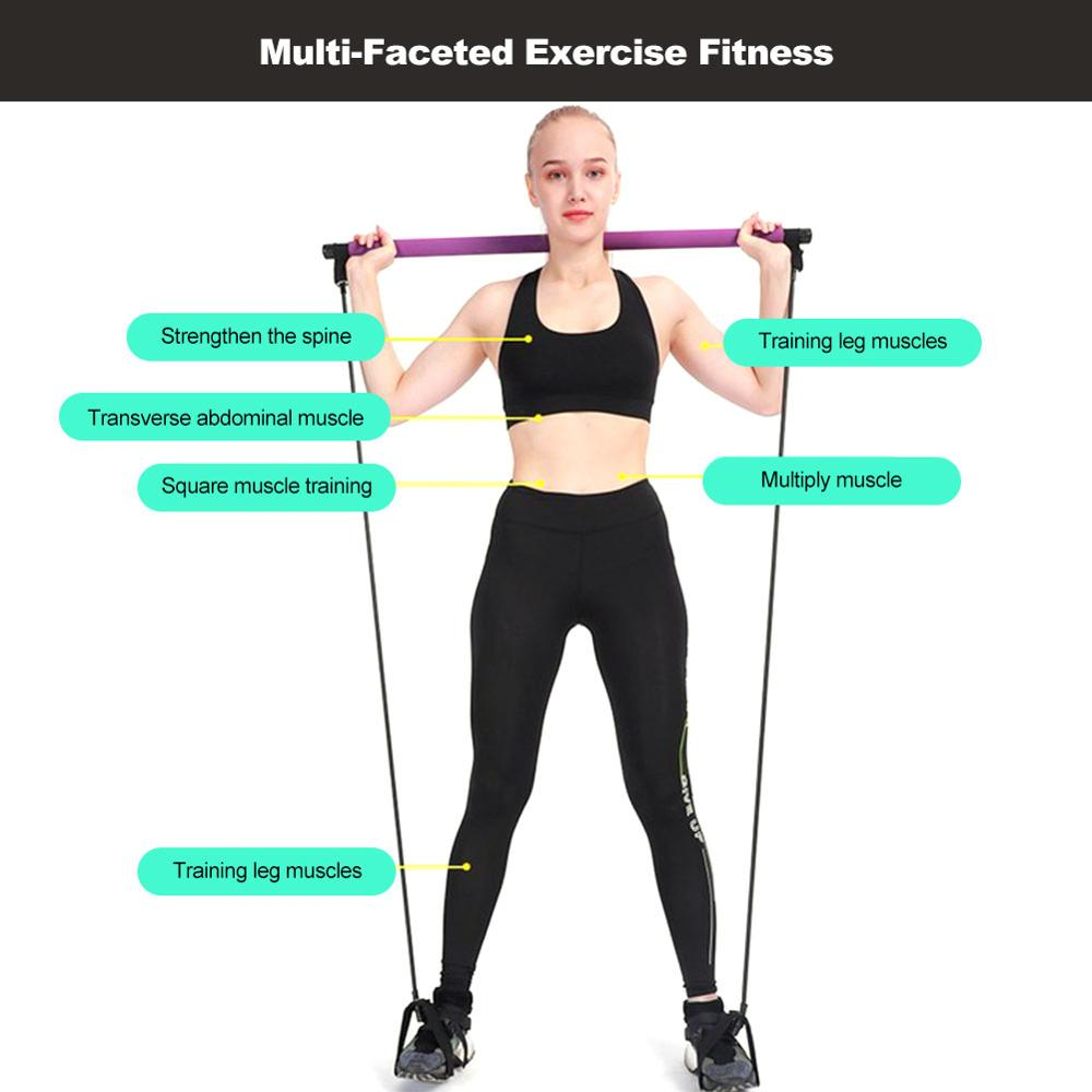 Купить с кэшбэком Pilates Bar Kit  Resistance Band Yoga Exercise Pilates Bar  Foot Loop Yoga Pilates Stick Total Body Workout Toning Bar