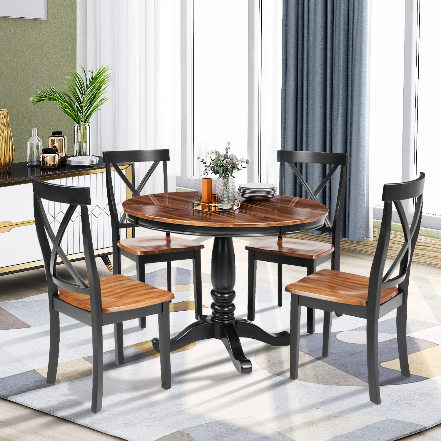 Nordic Style 5 Pieces Dining Table Kitchen Furniture Set 4 Chairs Solid Wood Table Restaurant Table 5pcs dining chair set 4 chairs 1 dining table set wooden metal furniture brown black beige home kitchen office furniture