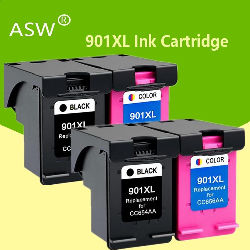 ASW 4PK 901XL خرطوشة متوافقة ل hp 901 xl hp 901 خرطوشة حبر ل Officejet 4500 J4500 J4540 J4550 J4580 J4680 طابعة