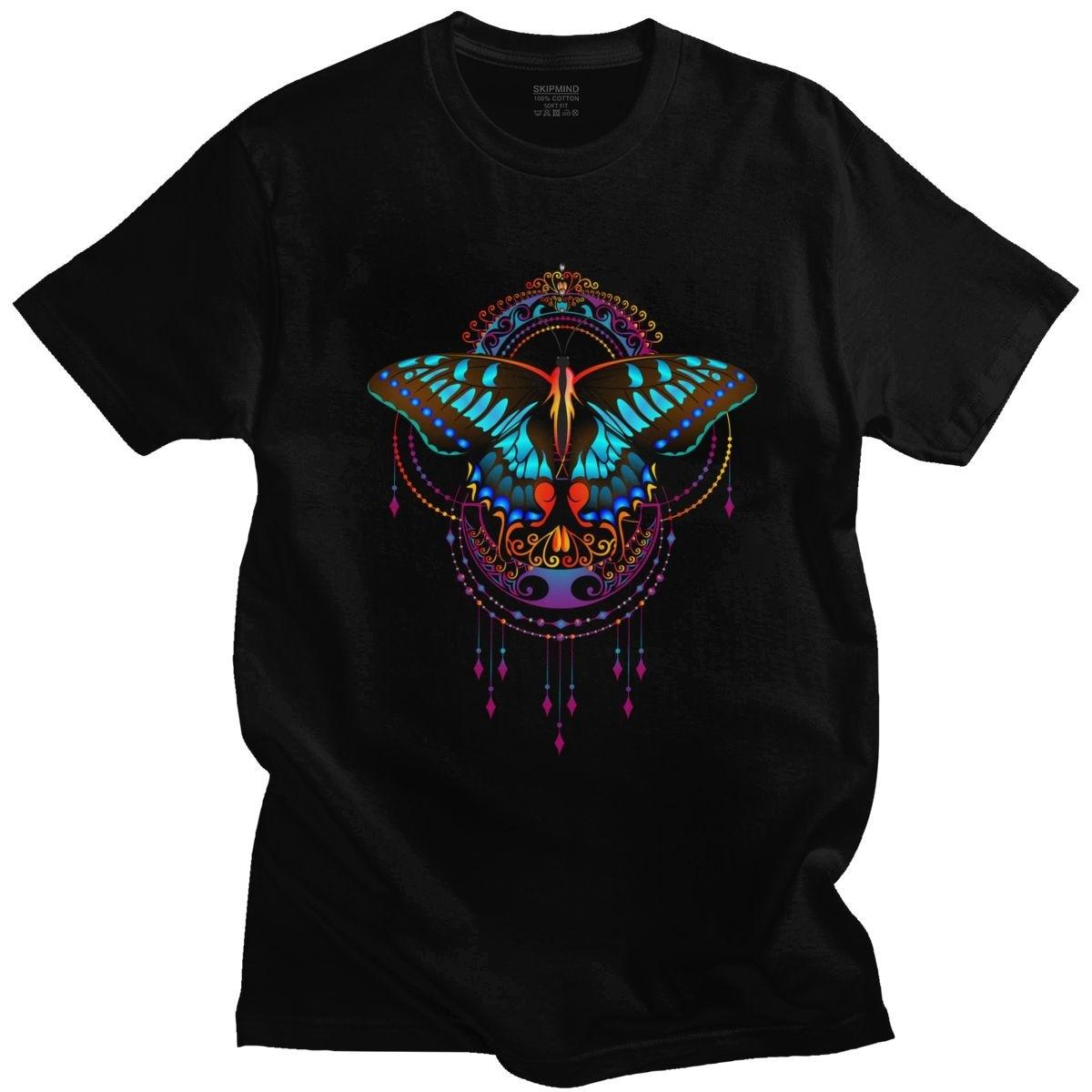 Camiseta de manga corta con estampado de Mandala, camisa de cuello redondo...