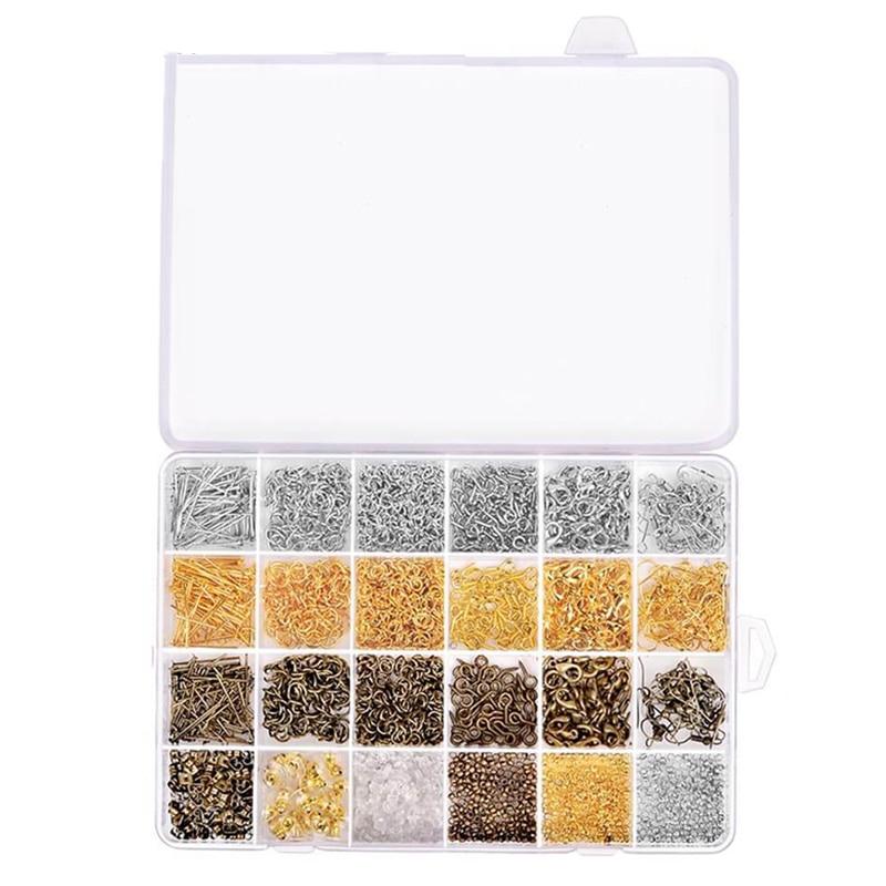 Kit de accesorios para la fabricación de joyas con anillos de salto abiertos, cierres de langosta, cuentas de engarce, broches de ojo de tornillo, alfileres, ganchos para pendientes