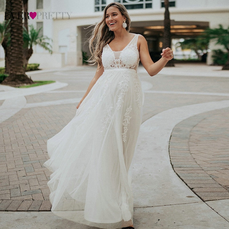 Robe Tulle Prom Dresses Long Women Ever Pretty Elegant A Line V Neck Lace Applique Formal Wedding Party Dress Вечерние Платья