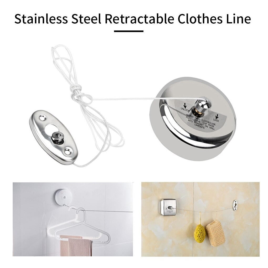 Clothes Drying Rack Rope Home Storage Stainless Steel Retractable Clotheslines Clothes Dryer Organiser Laundry Hanger