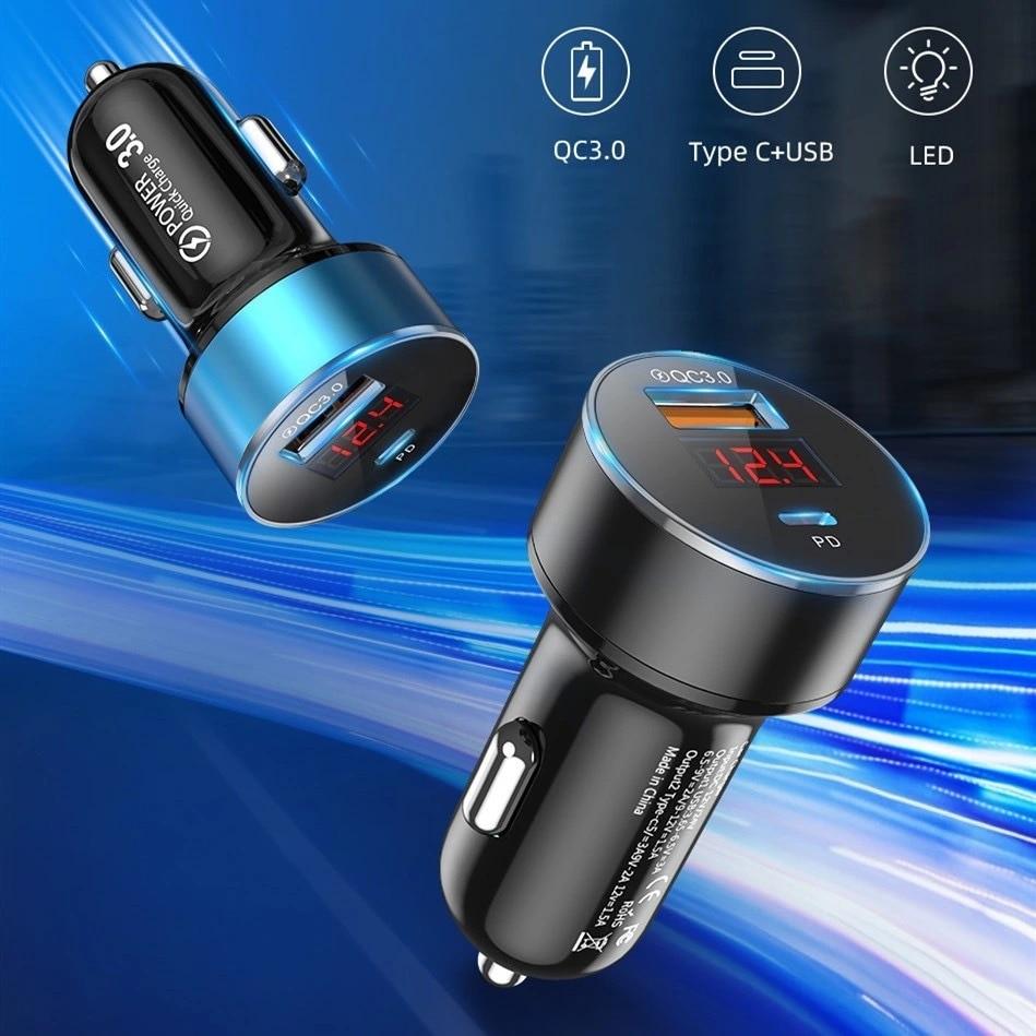 Cargador de Coche DC12V-24V tipo C LED de carga rápida para Samsung,...