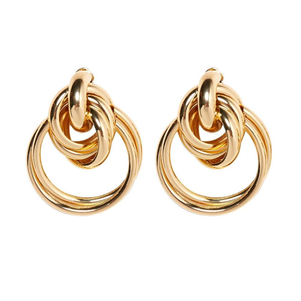 Pendientes de aro torcidos de Color dorado para mujer, Color plata, declaración Simple Vintage con textura de diseñador, estilo Femla, joyería al por mayor