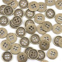 Bouton de couture en alliage de Zinc   Boutons métalliques ronds en Bronze Antique 4 trous sans Cadmium 13mm( 4/8
