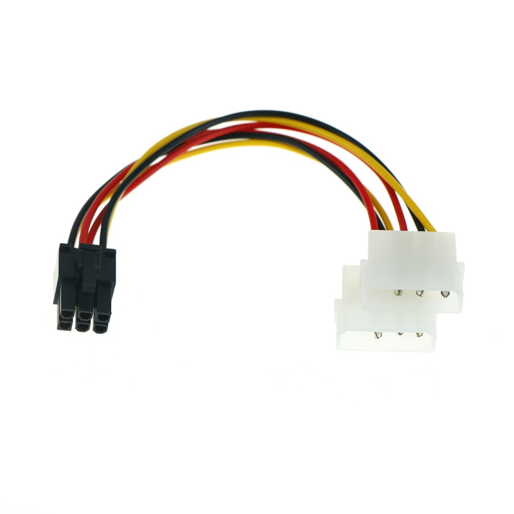 6 pin to 4 pin power cable wire pci e adapter graphics video card converter molex connetor 2x 4 Pin Molex To 6 Pin PCI-E ATX PSU Power Adapter Graphics Video Card Converter Cable Line Adapter Power Cables