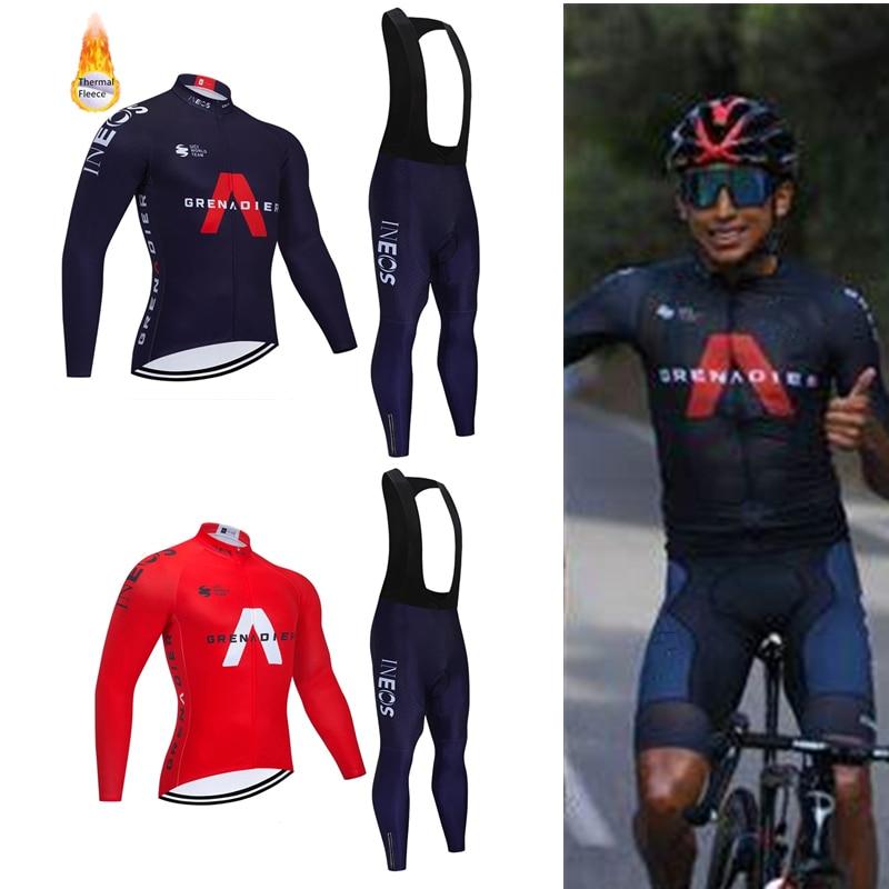 Ineos-Ropa deportiva de invierno para equipo de Ciclismo, pantalones térmicos de lana,...