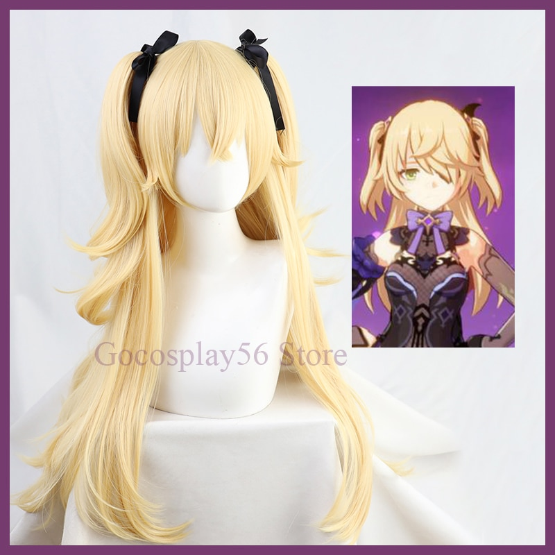 Genshin Impact Fischl Wig Cosplay Blonde Twin Curly Ponytails Golden Straight Heat Resistant Hair Ad