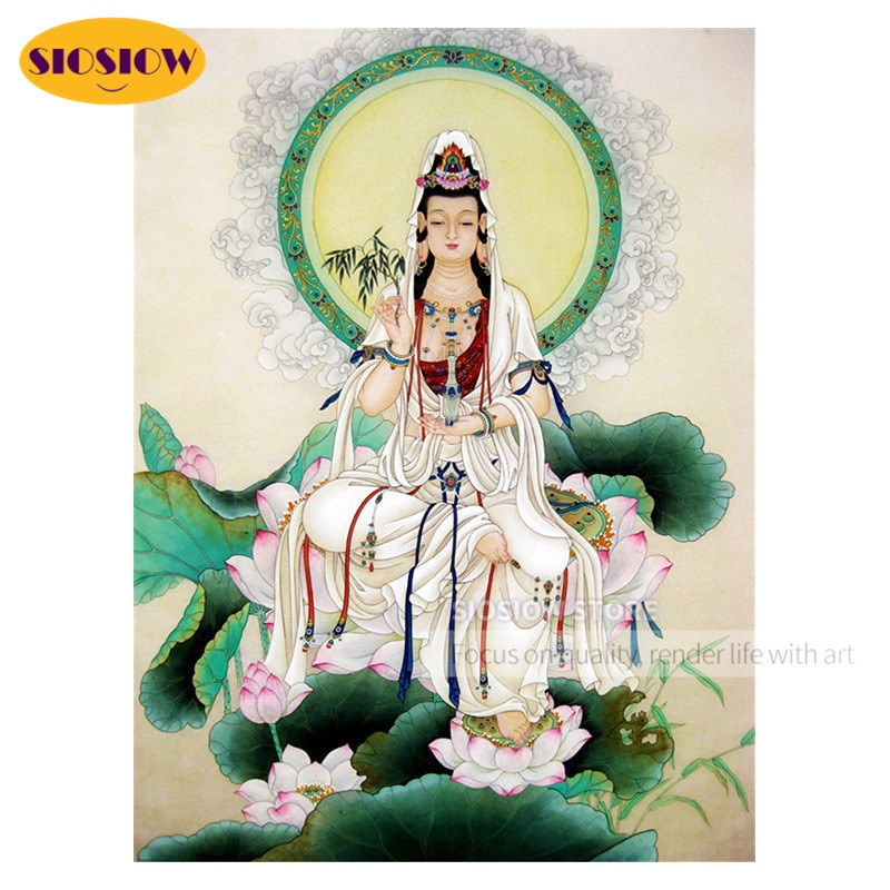 5D DIY pinturas religiosas de Buda de diamante Kwan Yin Bodhisattva taladro completo cuadrado redondo 3D Daimond mosaico de punto de cruz bordado