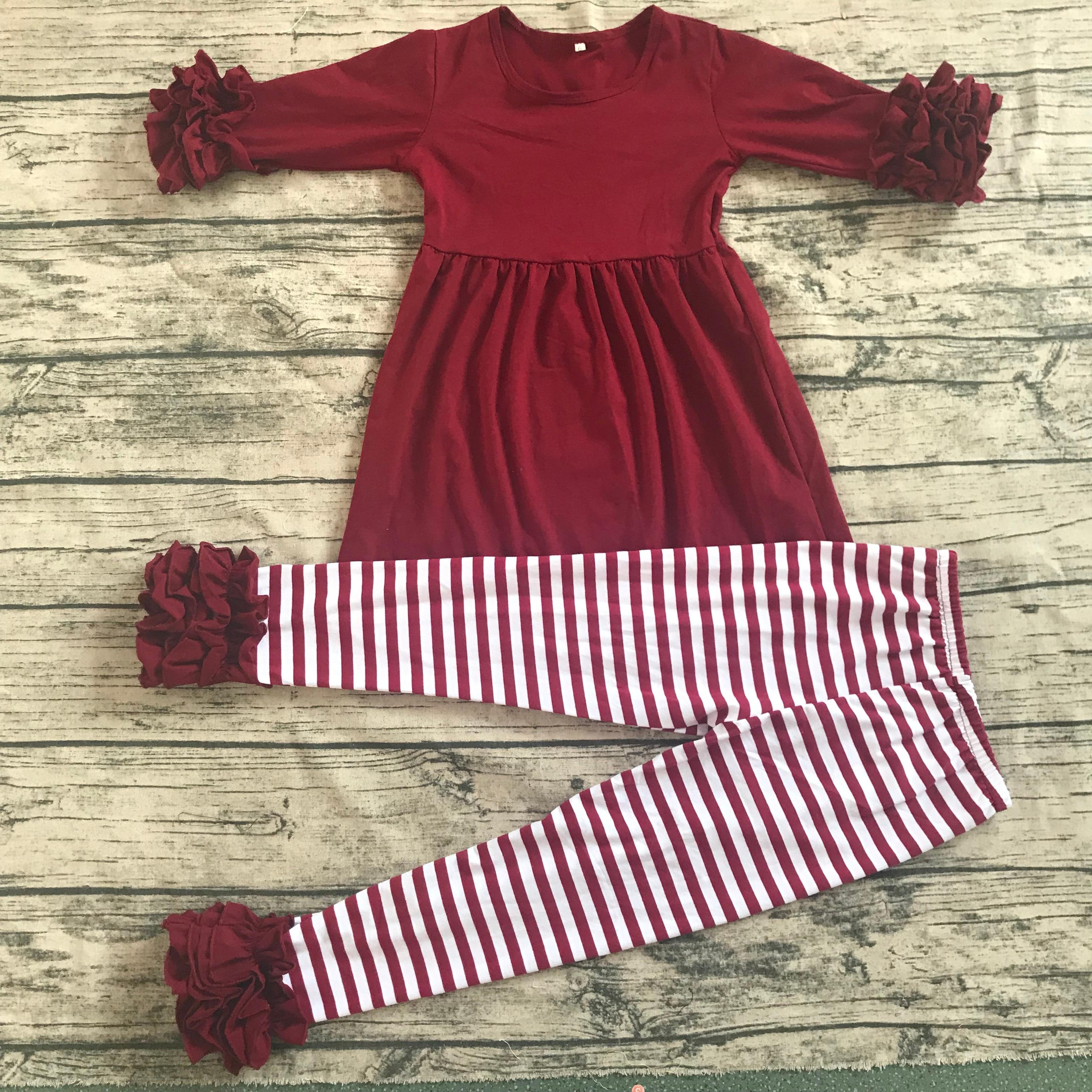 فستان مكشكش من القطن 100% للفتيات للخريف ، بناطيل مثلجة ، ملابس للأطفال ، أزياء الهالوين والشتاء ، مجموعة ملابس للفتيات