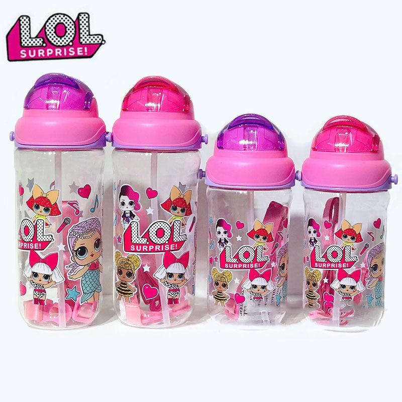 Lol sorpresa muñecas niños botella de agua taza de dibujos animados Correa portátil pajita para beber taza de agua especial