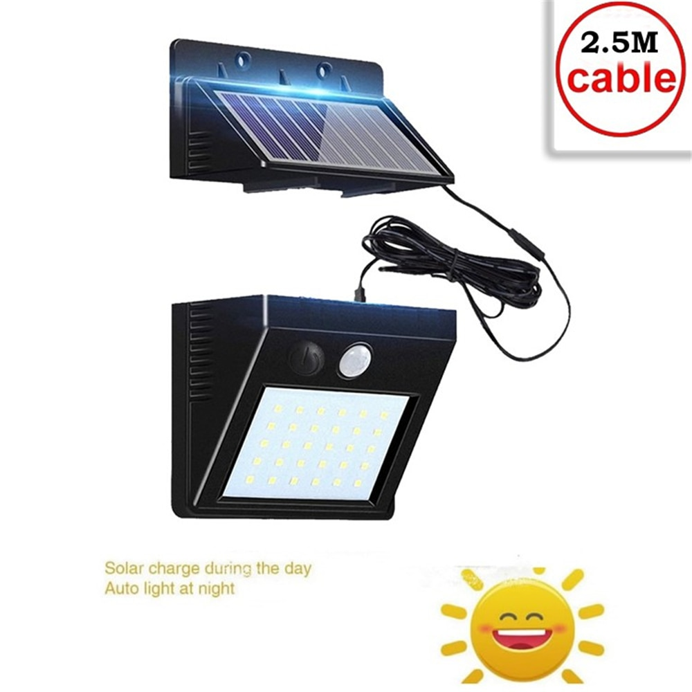 super bright 24 leds solar panel street light led on the wall waterproof outdoor lighting solar panel lamp with 4000ma battery 30 Leds Solar Light Waterproof Motion Sensor Wall Lamp Powered Panel Lighting Street Outdoor Garden Lights White Black Color ind