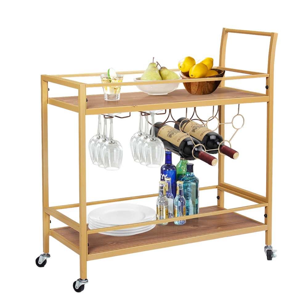عربة مشروبات عربة متنقلة مع النبيذ الرف حامل زجاجة الزجاج تخزين الرف المتداول عربة التقديم المطبخ مع عجلات قابلة للقفل للمنزل