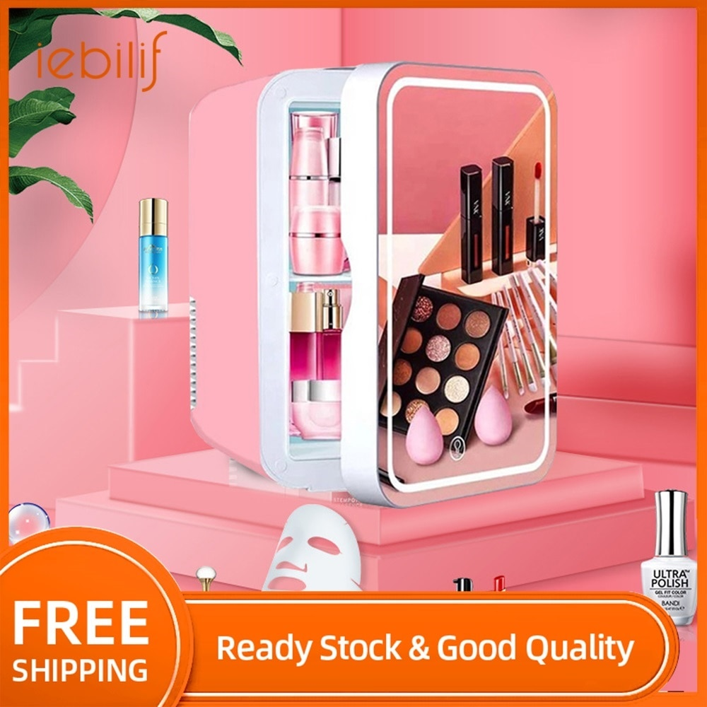8L Large Space Makeup Fridge Portable Mini Beauty Refrigerators With LED Mirror Car Fridge Freezer for Home Car Dual Use