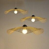 Japanese bamboo pendant lights creative art restaurant bar pendant lamp tea room straw hat clothing store flying saucer