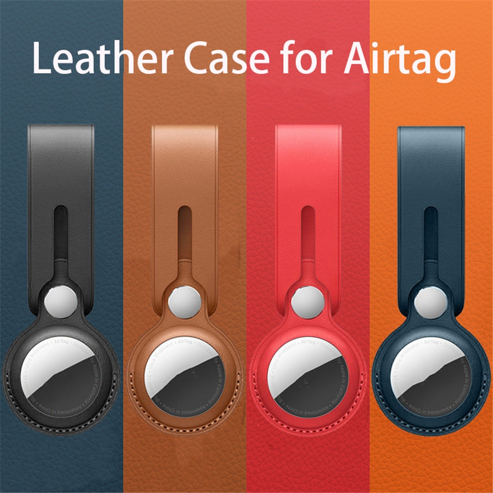 Soft Leather loop buckle Protective Airtag Case For Apple Airtags Cover Hangable Keychain Bag Locato