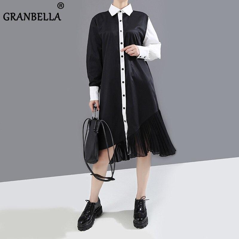 Europen, camisa elegante OL para mujer, vestido midi liso negro/blanco, patchwork plisado, vestidos sueltos de cáñamo, ropa femenina de primavera