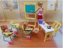 Original pour princesse barbie enseignant classe fournitures de bureau scolaire 1/6 bjd poupée meubles poupée maison accessoires ensemble jouet cadeau