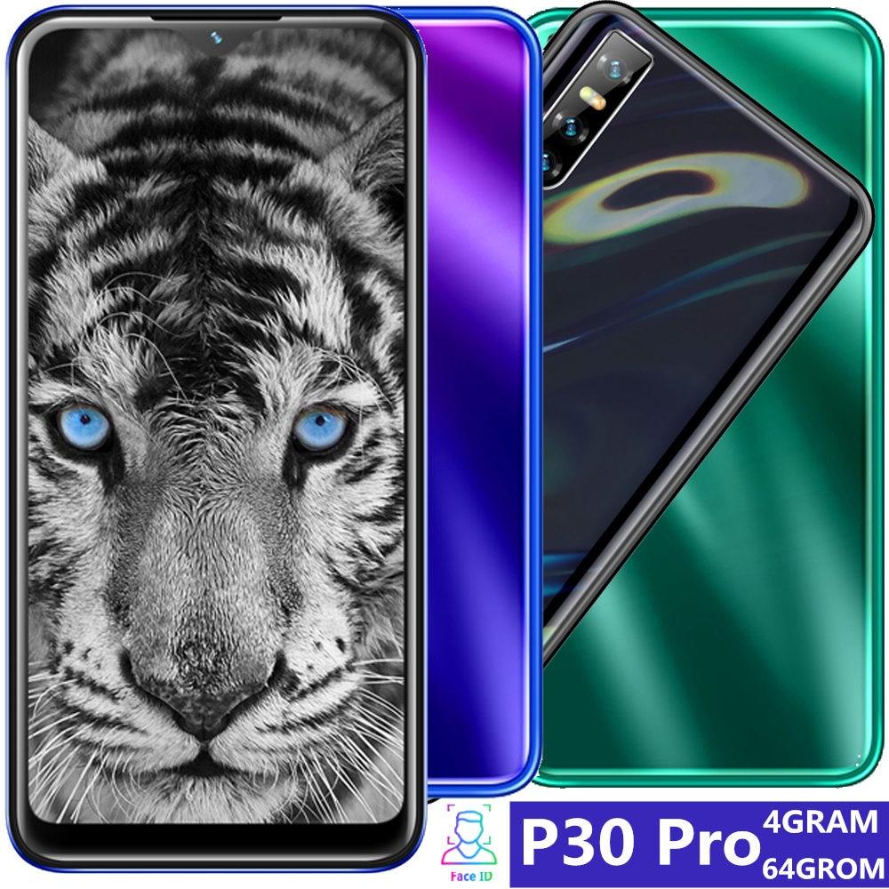 "P30 pro smartphones 6,26 ""große wasser tropfen bildschirm Quad core 4GB RAM 64GB ROM 13MP gesicht ID entsperrt Android handys wifi gps"