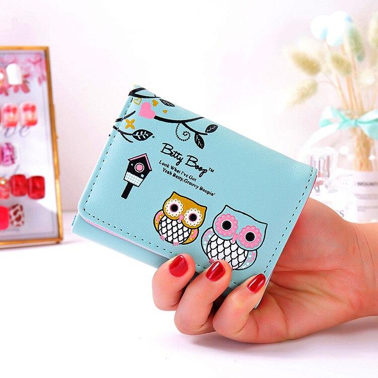 Girls PU leather Wallet Fashion Short Wallets Women Ladies Coin Purses Clutch Card Holder Cartoon An