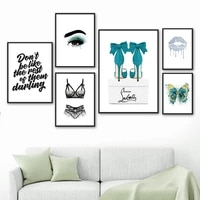 bra panties eye lips high heels butterfly wall art canvas painting nordic posters and prints wall pictures for living room decor