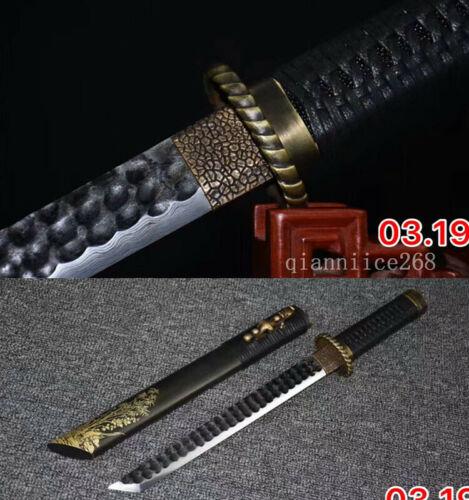 BLACK SAYA DAMASCUS FOLDED STEEL SHARP CHINESE PAN LONG SWORD QIN JIAN