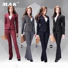 متوفر اللون الرمادي/الأزرق 1/6 POPTOYS X29 X30 مكتب سيدة فتاة بدلة عمل تنورة/بنطلون مجموعة ملابس تناسب الجسم 12 الشكل