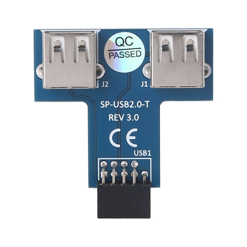 Motherboard 9pin Female Header to Expand Two USB2.0 A Female Interfaces Adapter Converter Connector Extension Board