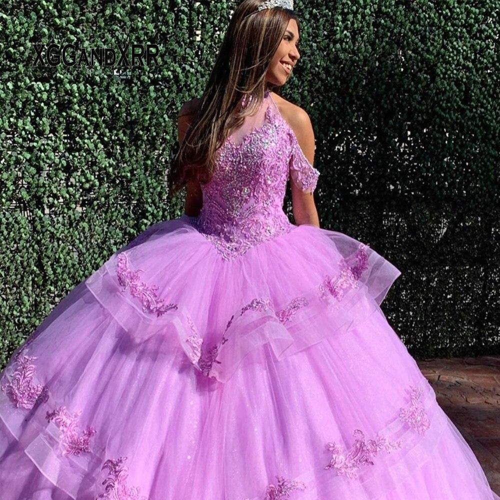 Luxus Lila Quinceanera Kleider 2020 Halter Off Schulter Perlen Spitze Applique Rock Schichten Lange Süße 15 16 Kleid Plus Größe