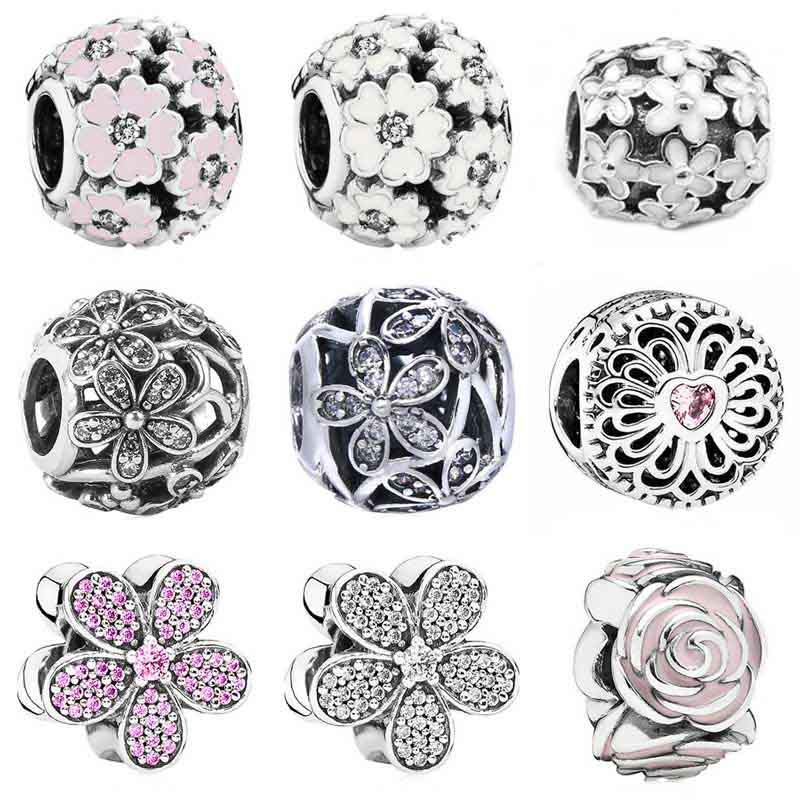 Rosa esmalte deslumbrante daisy prímula prado rosa jardim charme caber pandora pulseira 925 prata esterlina grânulo charme jóias