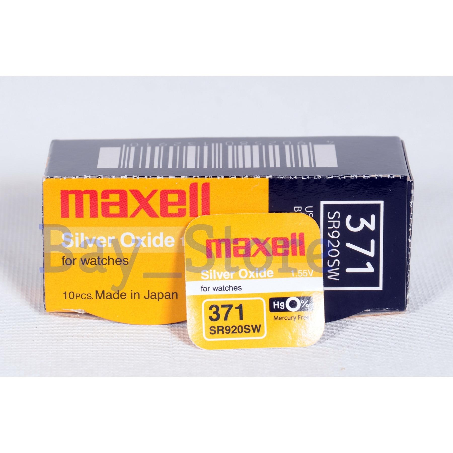 SR920SW 10 PCS Maxell Bateria de 371 mAh 1.55 V Óxido De Prata Botão Célula 45-Made In Japan