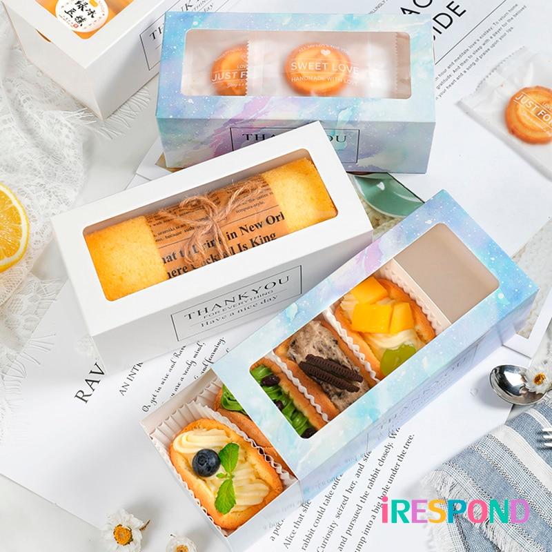 10Pcs Omelet Cake Roll Dozen Venster Macaron Cupcake Gift Box Wedding Party Candy Cookies Zwitserse Roll Bakpapier Verpakking doos
