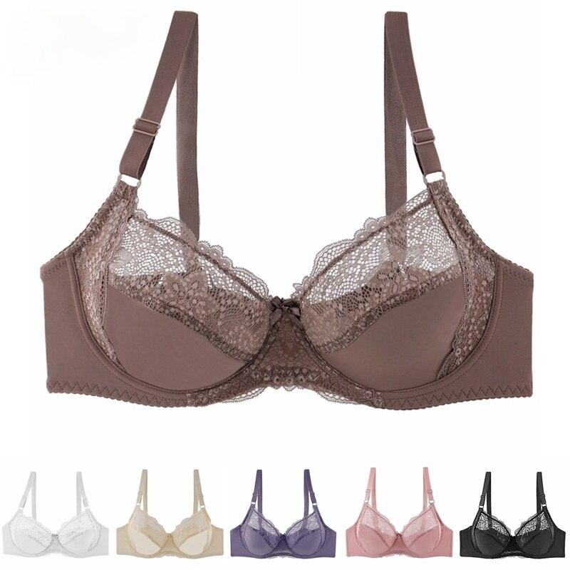 Lencería de encaje Sexy con agujeros para mujer, sujetadores de talla grande, ropa interior de color sólido, ultrafina, transparente