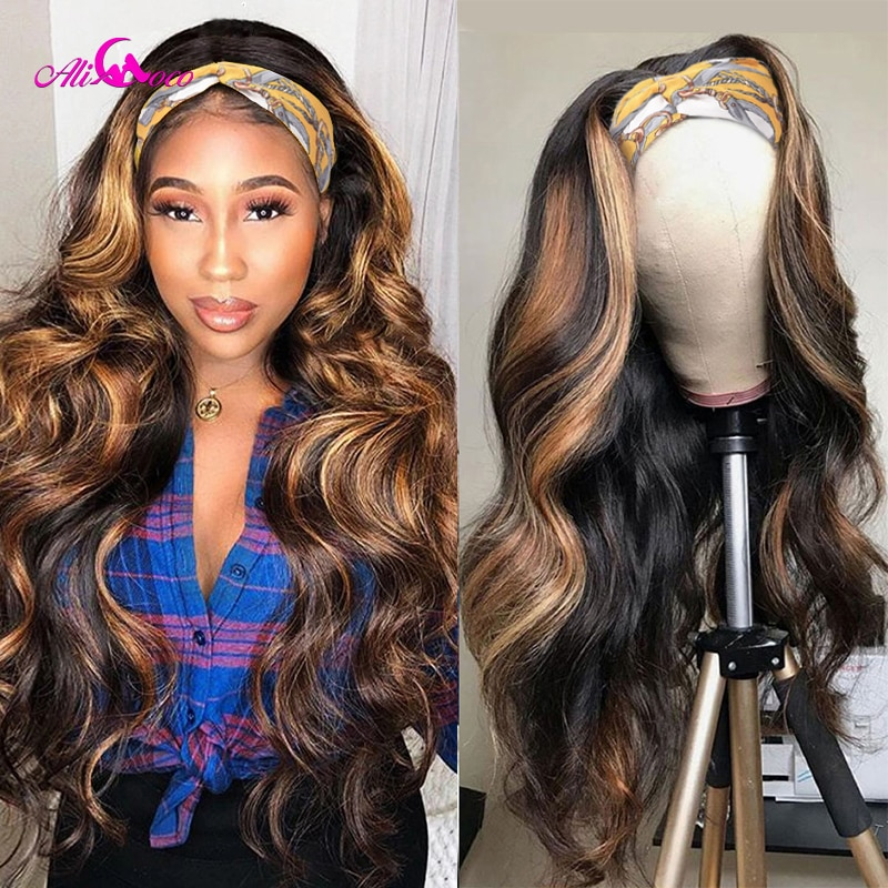Ali Coco Body Wave Hightlight Color 2 30 Headband Scarf Wig Glueless Human Hair Wig for Black Women Affordable Headband Wig