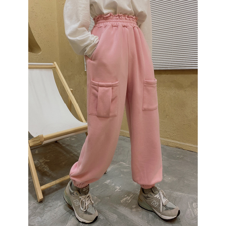 patchwork pocket and corset casual pants chic trousers Jasmine bud waist fleece bodysuit,