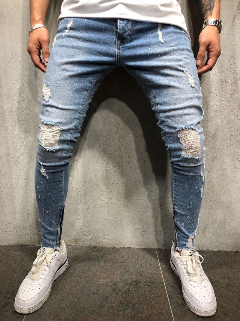 Jean Slim homme coupe ajustée jean déchiré jean bleu extensible grand et grand pour hommes taille élastique en détresse M-4XL