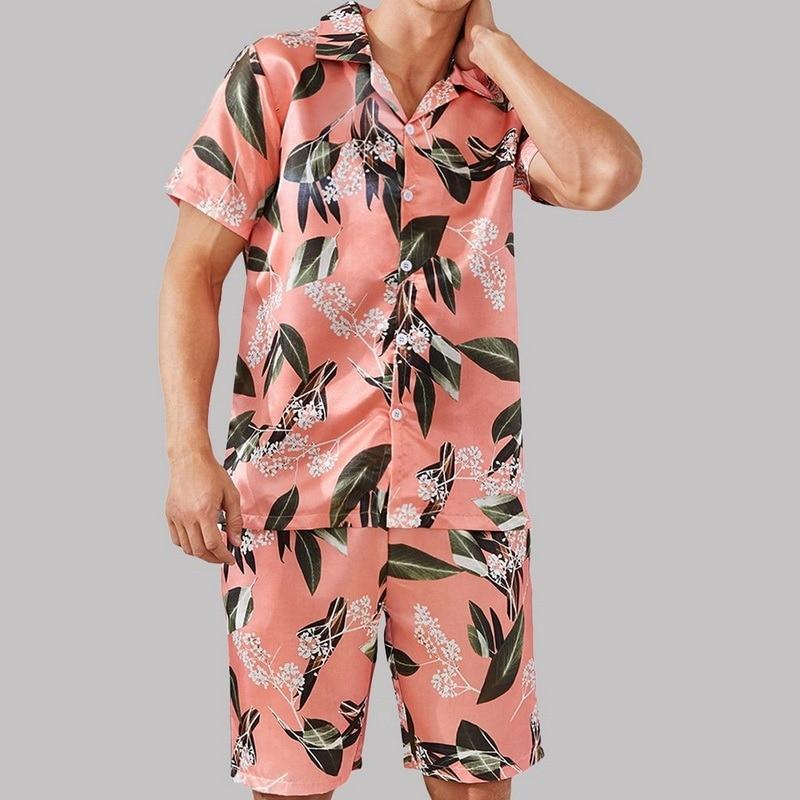WENYUJH мужские пятна шелк пижама комплекты пижамы мужские пижамы модерн стиль шелк ночная рубашка дом мужской атлас пижамы уют сон