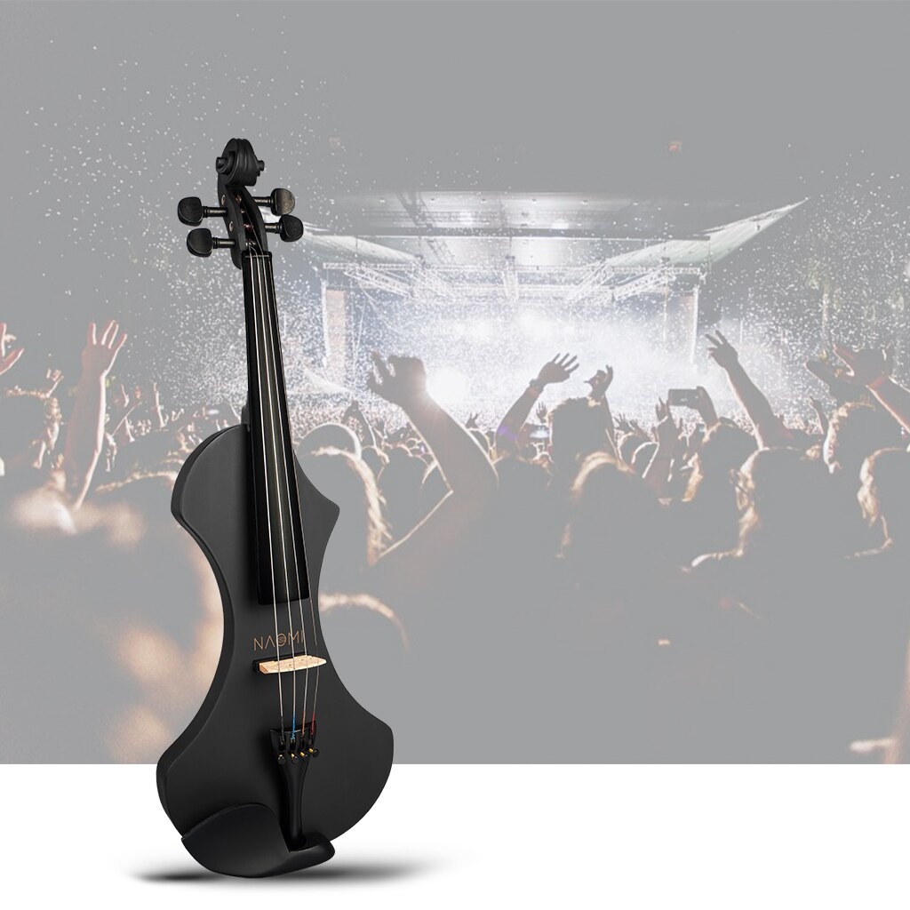 NAOMI Matte Black Electric 4/4 Violin Set w/ Brazilwood Bow+Violin Case+ Strings+Tuner+Rosin+Maple Bridge+Nylon Protect Bag enlarge
