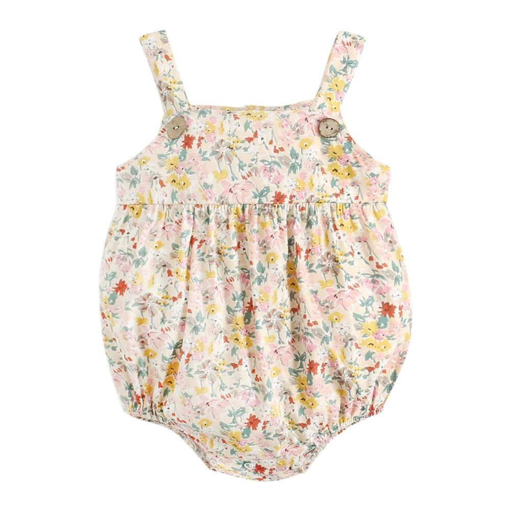 Fashion Cute Baby Girls Romper Newborn Sling Jumpsuit Baby Floral Bodysuit 2021